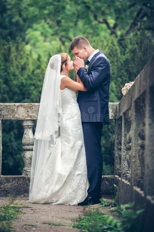 skjutit bröllop för brud brudgum royaltyfria bilder