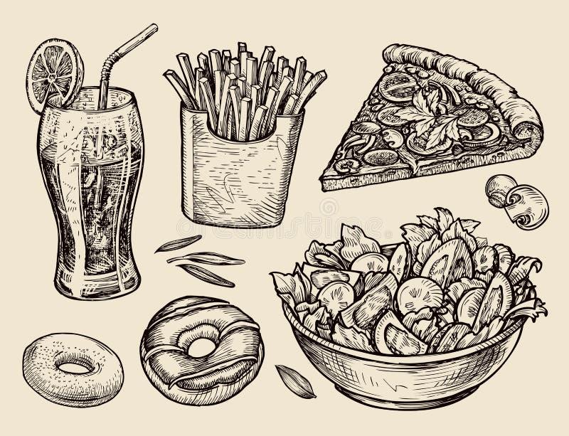 Skjutit i en studio räcka utdragen sodavatten, lemonad, småfiskar, skiva av pizza, sallad, efterrätten, munk Skissa vektorillustr vektor illustrationer
