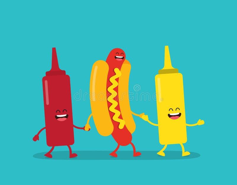 Skjutit i en studio Varmkorv, ketchup och senap vektor illustrationer
