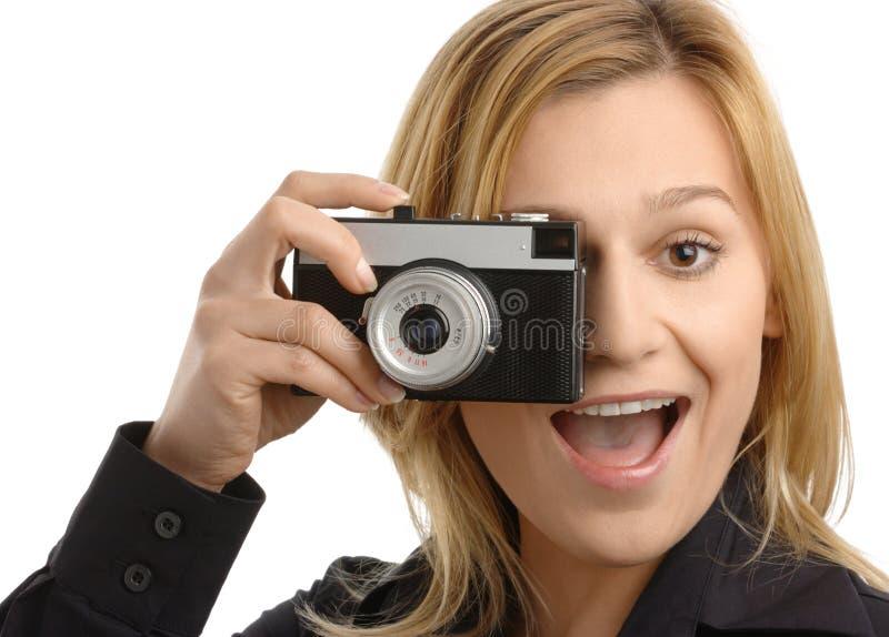 skjutit kamerafoto ta kvinnabarn arkivfoton