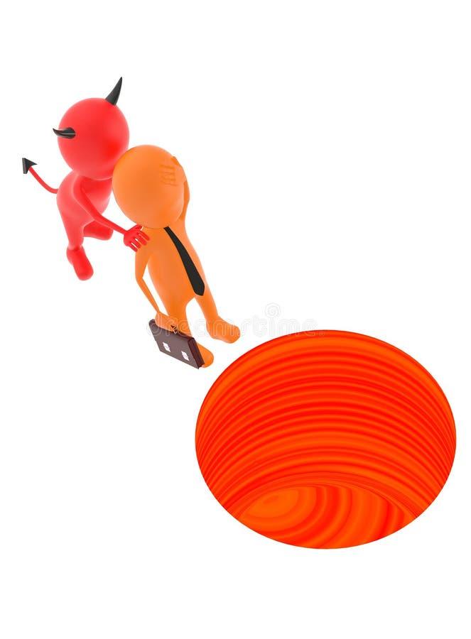 skjuts det orange teckenet 3d av ett jäkeltecken in i ett hål stock illustrationer