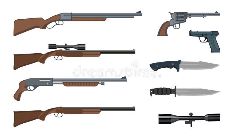 Skjutvapen och ammunitionar Milit?rt vapen Arméhandeldvapen och revolvervapen Olik sort av geväret royaltyfri illustrationer