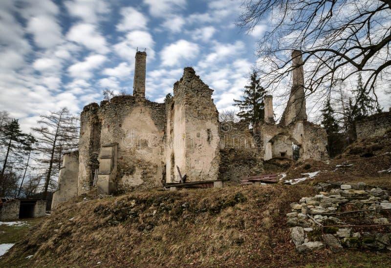 The Sklabina castle, Slovakia. Ruins of Castle Sklabina in Slovaka stock photos