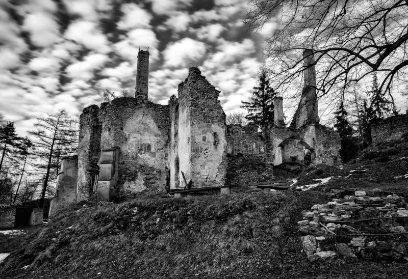 The Sklabina castle, Slovakia. Ruins of Castle Sklabina in Slovaka royalty free stock images