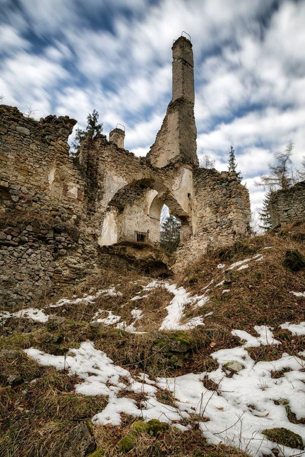 The Sklabina castle, Slovakia. Ruins of Castle Sklabina in Slovaka stock image