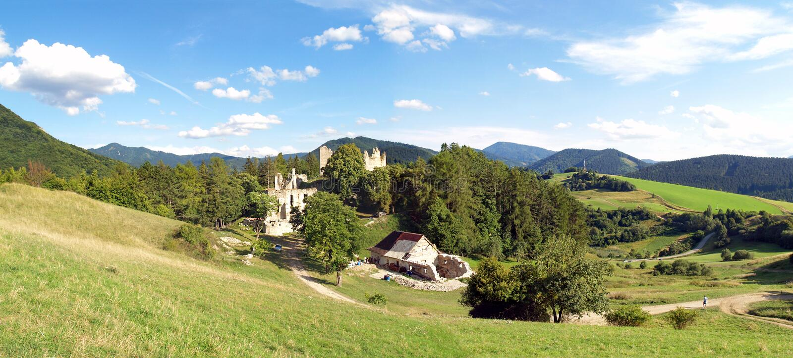 Sklabina Castle, Turiec region, Slovakia. Summer panorama portraying landscape with remains of Sklabina Castle being archaeologically reconstructed and preserved stock photo