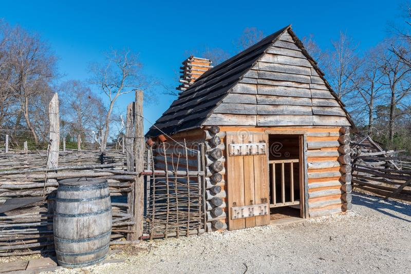 Sklaven-Quarters auf einem Yorktown-Bauernhof stockfotografie
