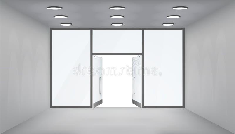 Sklepów otwarte drzwich 3d sklepu przestrzeni wewnętrznego pustego światła realistyczni okno interliniują szablonu mockup tła wek ilustracja wektor
