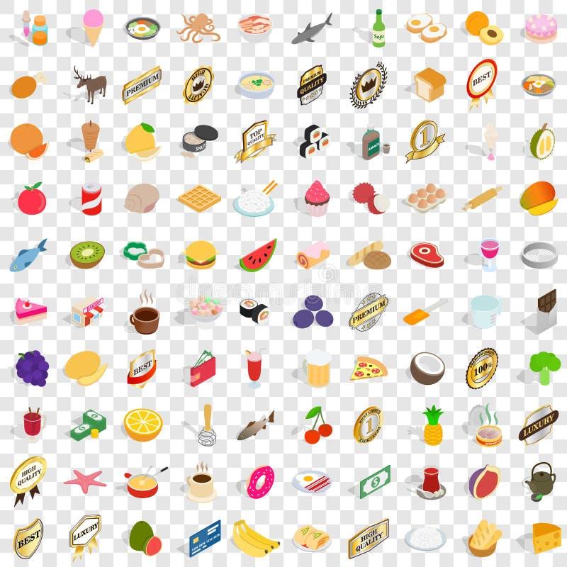 100 sklepów spożywczych ikon ustawiających, isometric 3d styl royalty ilustracja