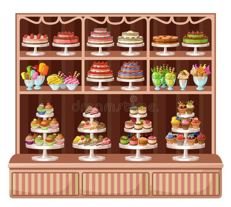 Sklep cukierki i piekarnia ilustracja wektor
