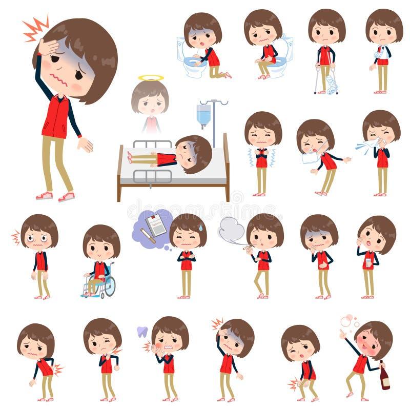 Sklep czerwieni munduru pięcioliniowy women_sickness royalty ilustracja