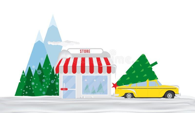Sklep dla sprzedaży choinki Taxi w śniegu parkuje przed sklepem w tle góry i drzewa mieszkanie ilustracji