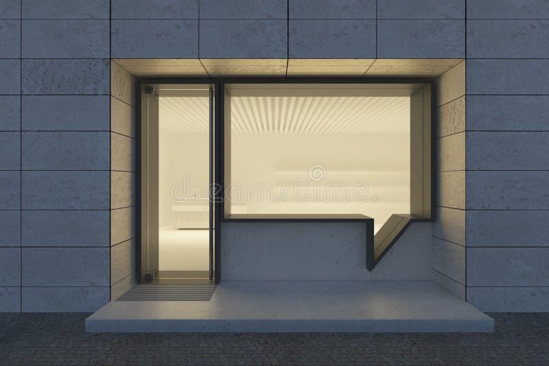 Sklep i wejście Okno ma kształt bąbelkowej rozmowy ilustracja wektor
