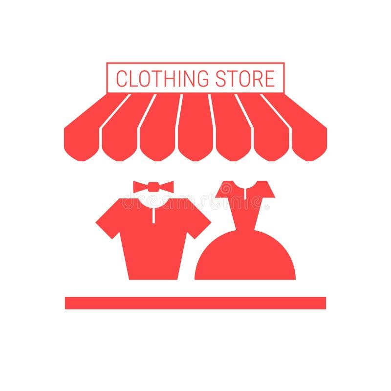 Sklep Odzieżowy, pasamonictwo sklepu Pojedyncza Płaska ikona Pasiasta markiza i Signboard ilustracja wektor