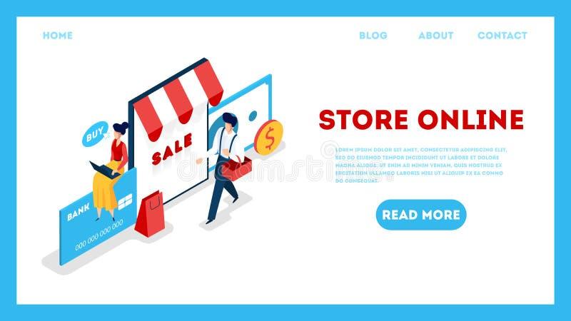 Sklep sieci online sztandar Gmeranie towary w online sklepie ilustracji