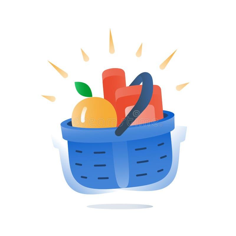 Sklep spożywczy folował błękitnego kosz jedzenie, oferta specjalna, supermarket dostawa, najlepszy dylowy zakup ilustracji