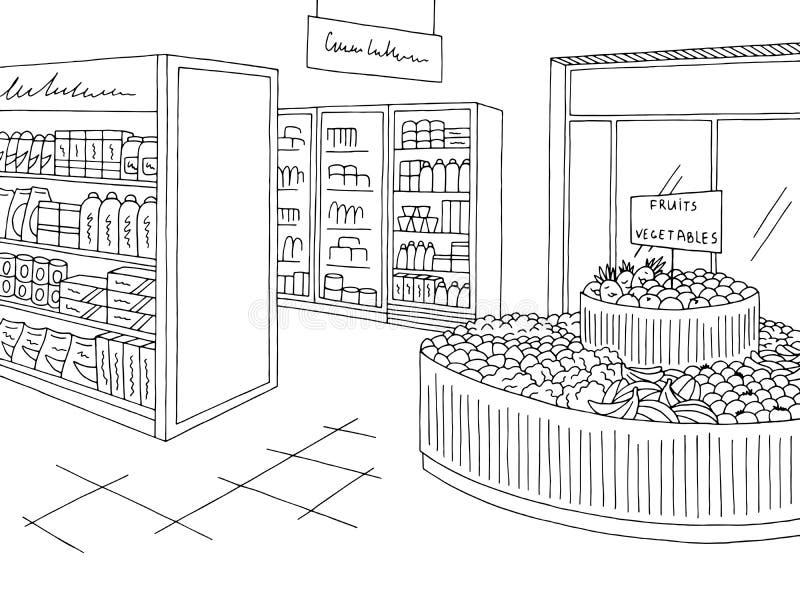 Sklep spożywczy grafiki sklepu nakreślenia ilustraci wewnętrzny czarny biały wektor ilustracja wektor