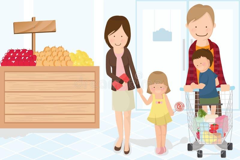 sklep spożywczy rodzinny zakupy royalty ilustracja
