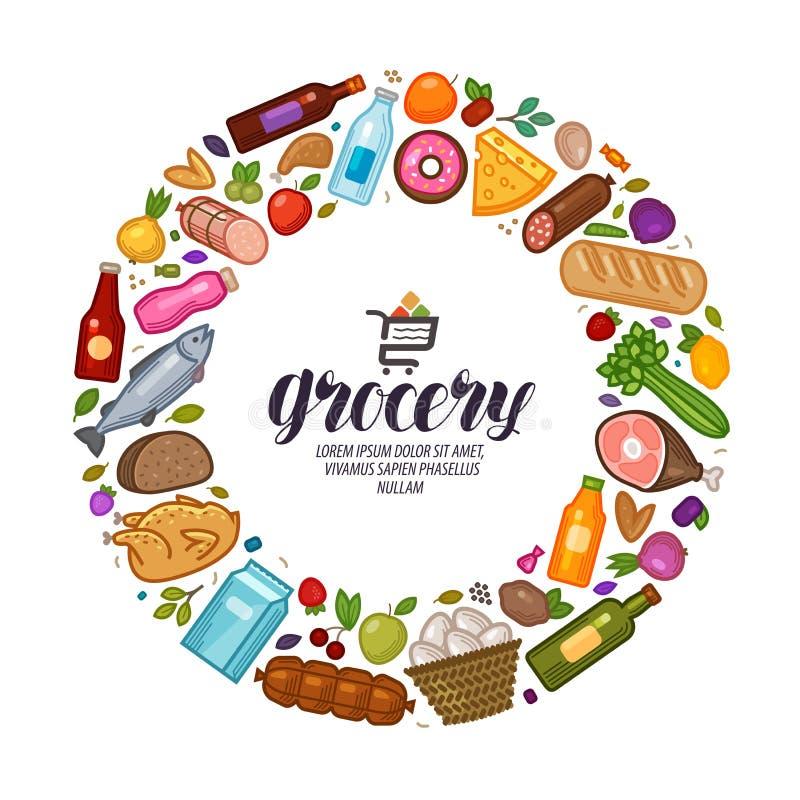 Sklep spożywczy, sztandar Jedzenie, napoje ustawia ikony również zwrócić corel ilustracji wektora ilustracja wektor