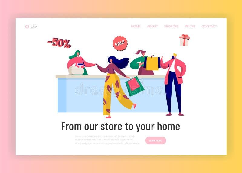 Sklep sprzedaży zakupu lądowania strony szablon Kobieta zakupy z rabat karty pojęciem Autonomiczny klient dla strony internetowej ilustracji