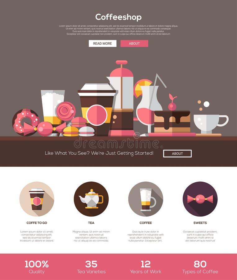 Sklep z kawą, cukierniany piekarni strony internetowej szablon z chodnikowem i ikony, ilustracji