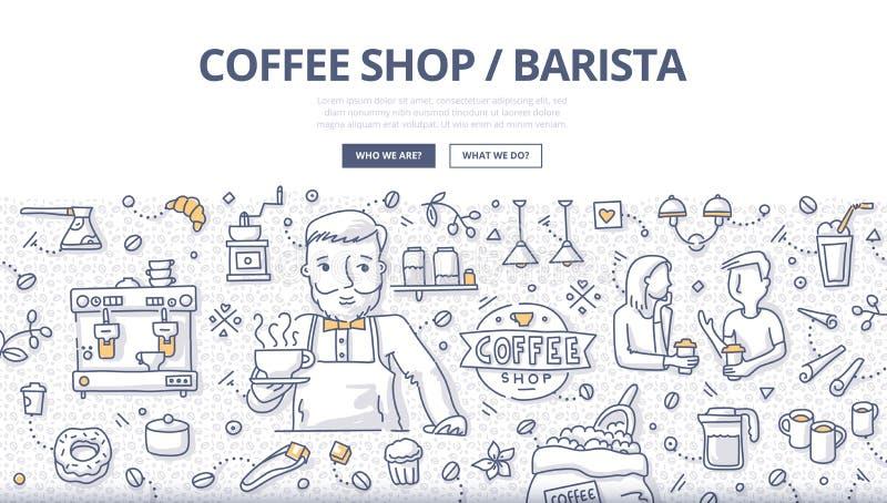Sklep Z Kawą Doodle pojęcie ilustracji