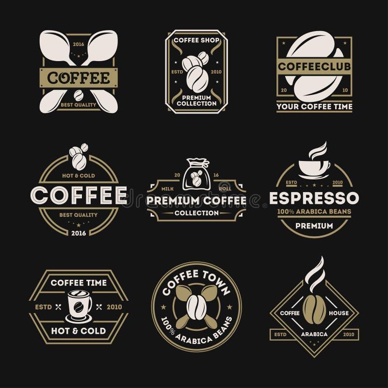 Sklep z kawą etykietki rocznik odizolowywający set royalty ilustracja