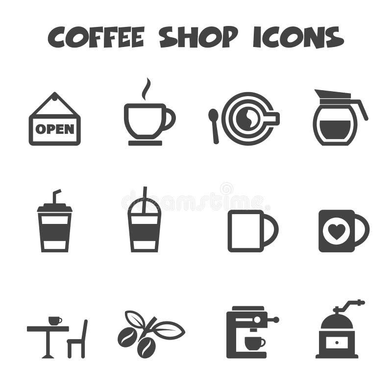 Sklep z kawą ikony royalty ilustracja