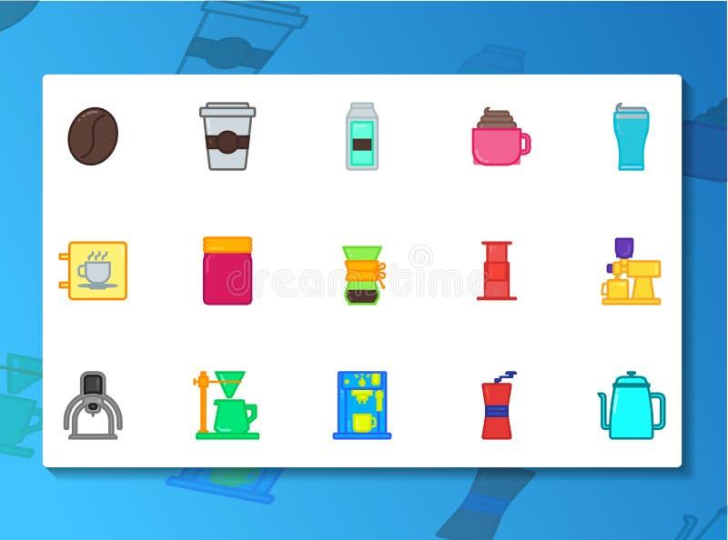 Sklep z kawą ikony set Wypełniający Kreskowy styl ilustracji