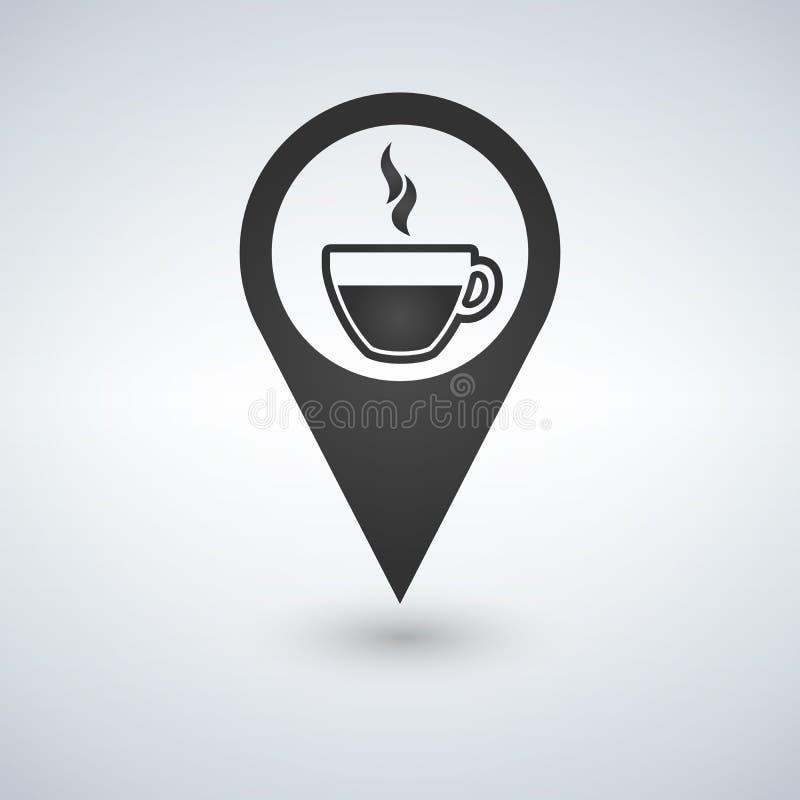 Sklep z kawą lokacja z filiżanki ikoną, wypełniający mieszkanie znak, stały piktogram odizolowywający na bielu Symbol, logo ilust ilustracja wektor
