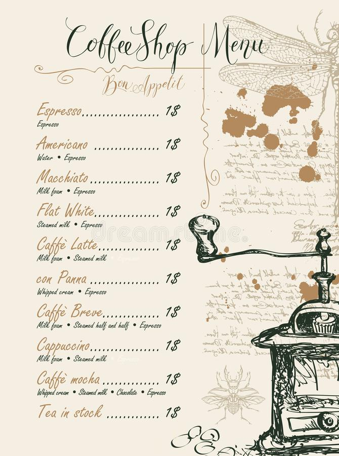 Sklep z kawą menu z cena obrazkami i listą ilustracji