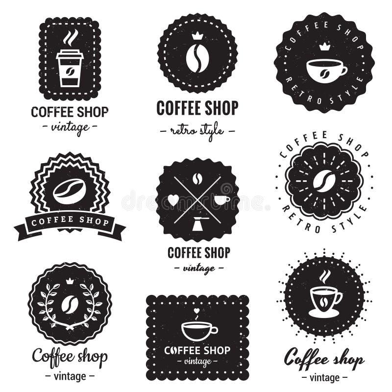 Sklep z kawą odznak rocznika wektoru set Modniś i retro styl ilustracja wektor
