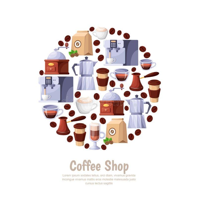 Sklep z kawą okręgu wektorowa etykietka odizolowywająca na białym tle Kreskówka projekta płascy ilustracyjni elementy dla cukiern royalty ilustracja