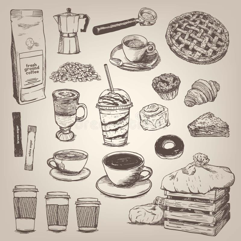 Sklep z kawą rocznika projekta element ilustracji