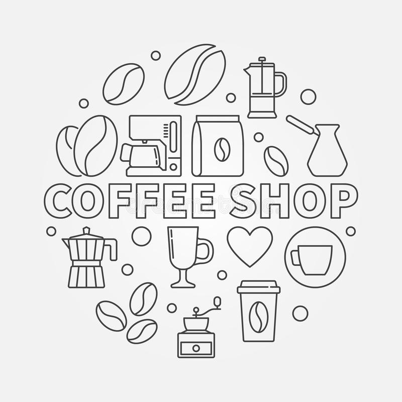 Sklep z kawą wektorowa round ilustracja w cienkim kreskowym stylu ilustracji