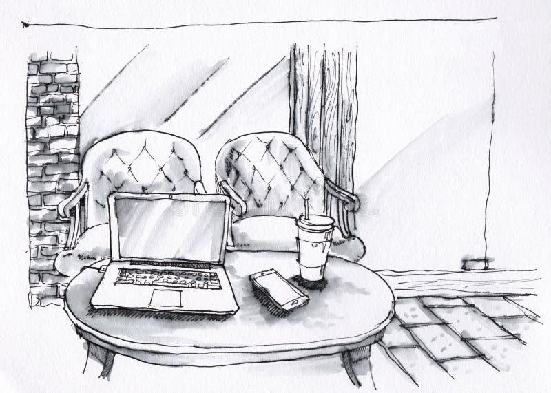 Sklep z kawą wewnętrzna czarny i biały ilustracja ilustracja wektor