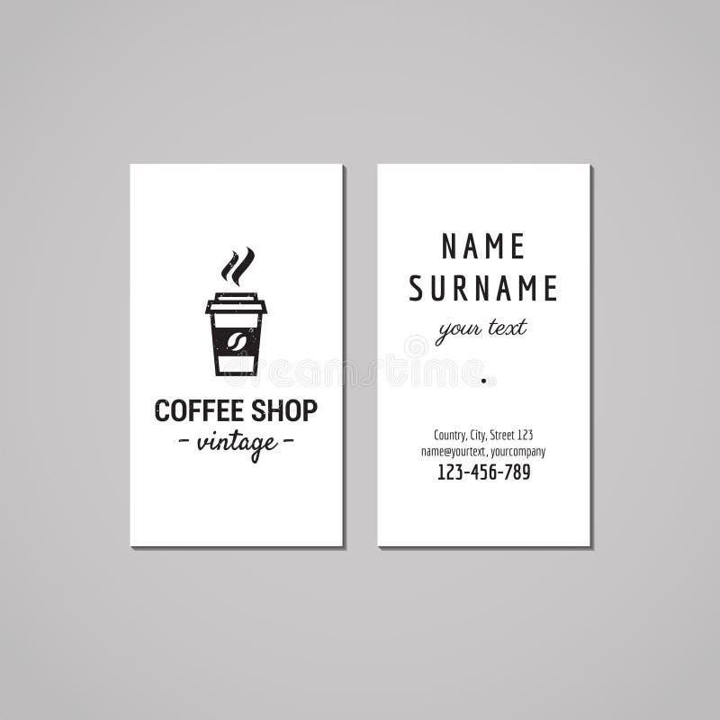 Sklep z kawą wizytówki projekta pojęcie Sklep z kawą logo z bierze oddaloną kawę Rocznik, modniś i retro styl, royalty ilustracja
