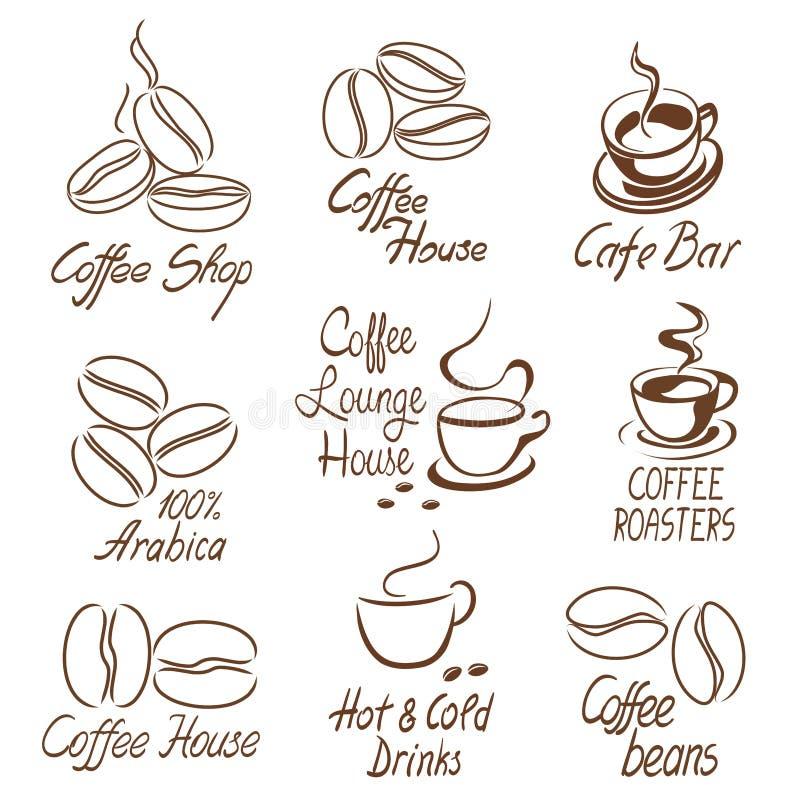 Sklep z kawą znaki ilustracja wektor