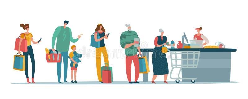 Sklepowa kolejka Ludzie klientów stoi w długiej linii czekaniu przy supermarket gotówką boksują z kasjerem Kupującego wektoru poj ilustracja wektor