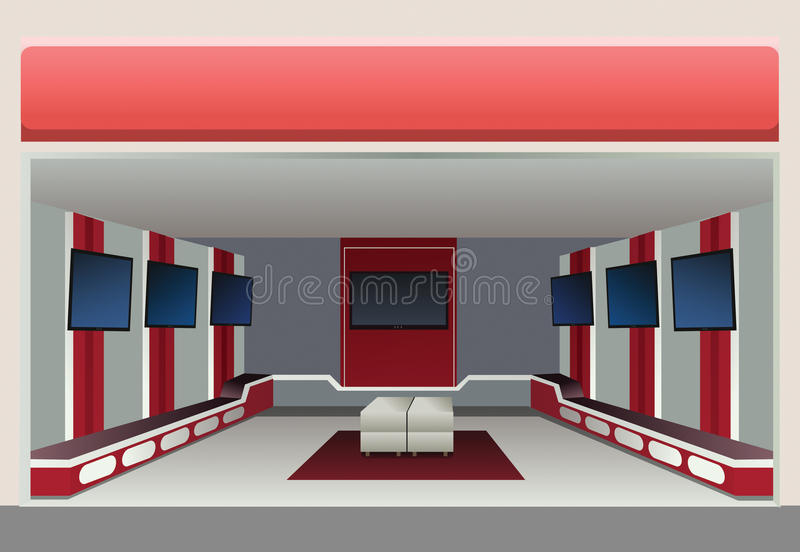sklepowa sala wystawowa tv ilustracji