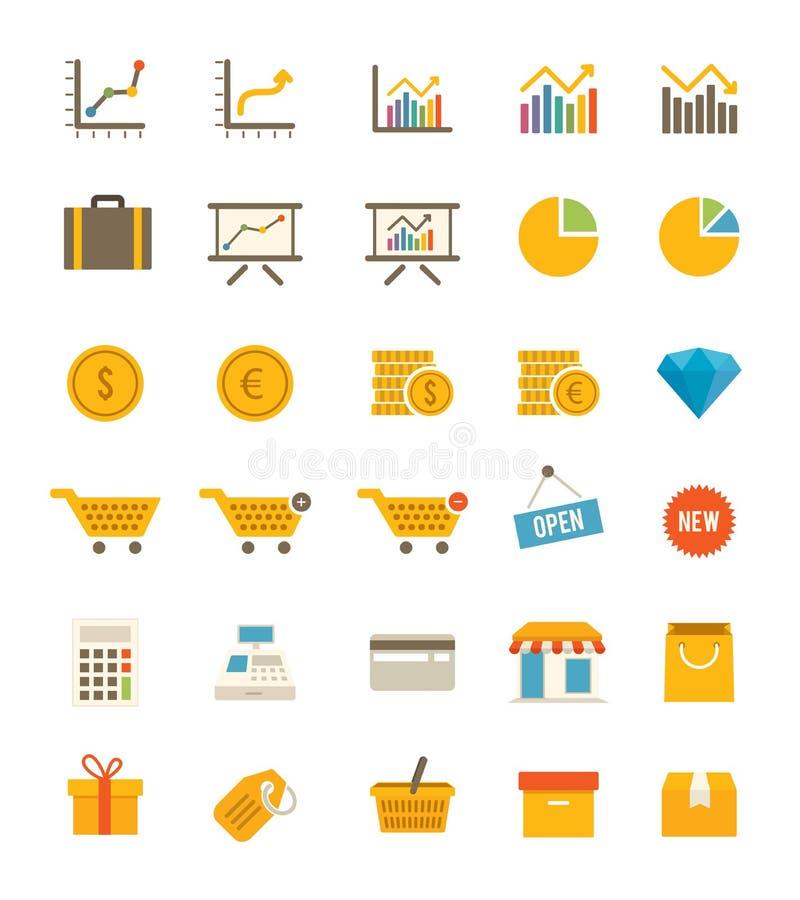 Sklepowe I Finansowe ikony ilustracji