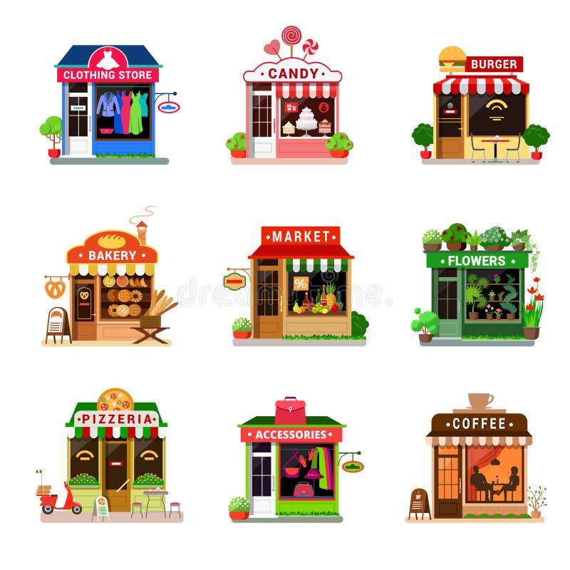 Sklepowego sklepu wejściowa ikona dla app gemowego płaskiego wektoru ilustracji