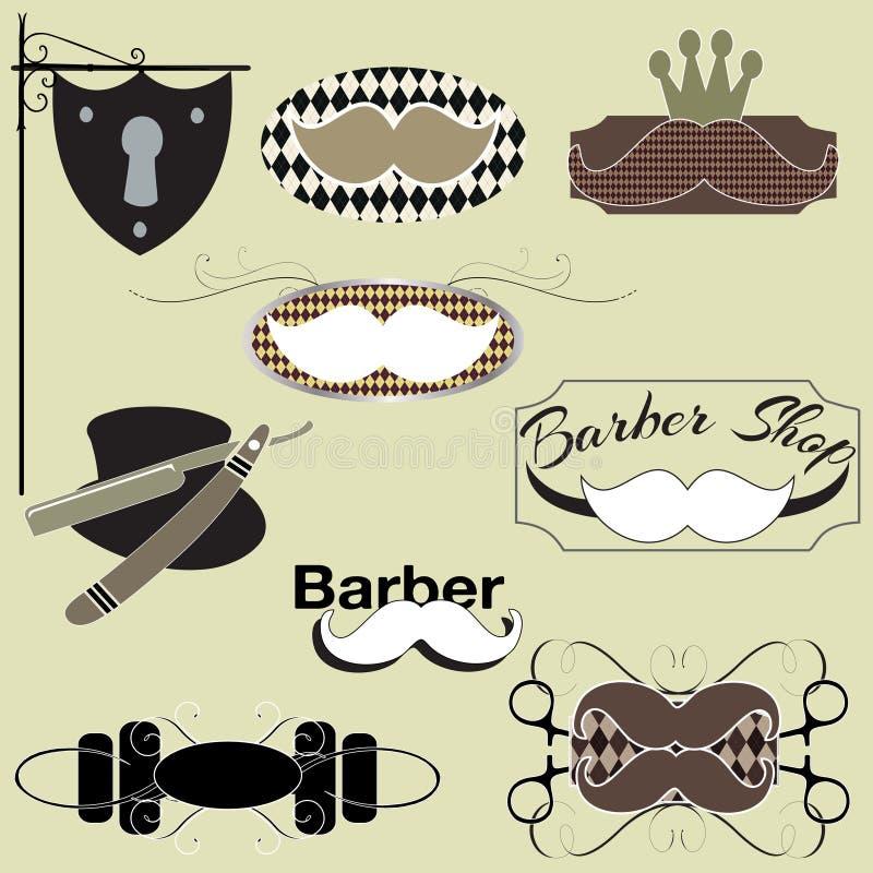 Sklepowy fryzjer męski set royalty ilustracja