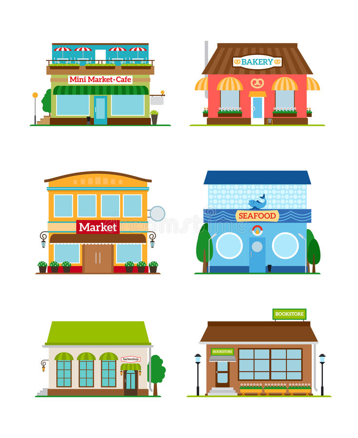 Sklepowy sklep fasady set ilustracji