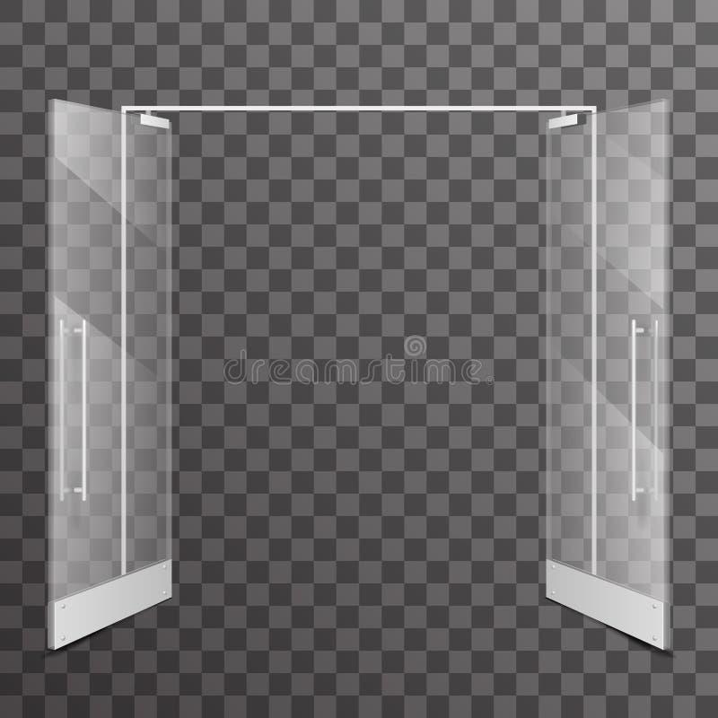 Sklepowych dwoistych otwarte drzwi architektonicznego projekta elementu wektoru przejrzysta realistyczna szklana wewnętrzna ilust ilustracja wektor