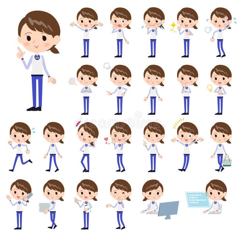 Sklepu błękita pięcioliniowy mundur women_1 ilustracja wektor