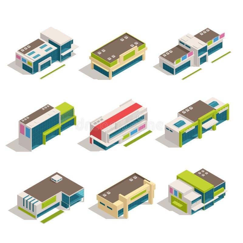 Sklepu centrum handlowego centrum handlowego budynków ikony Isometric set ilustracja wektor