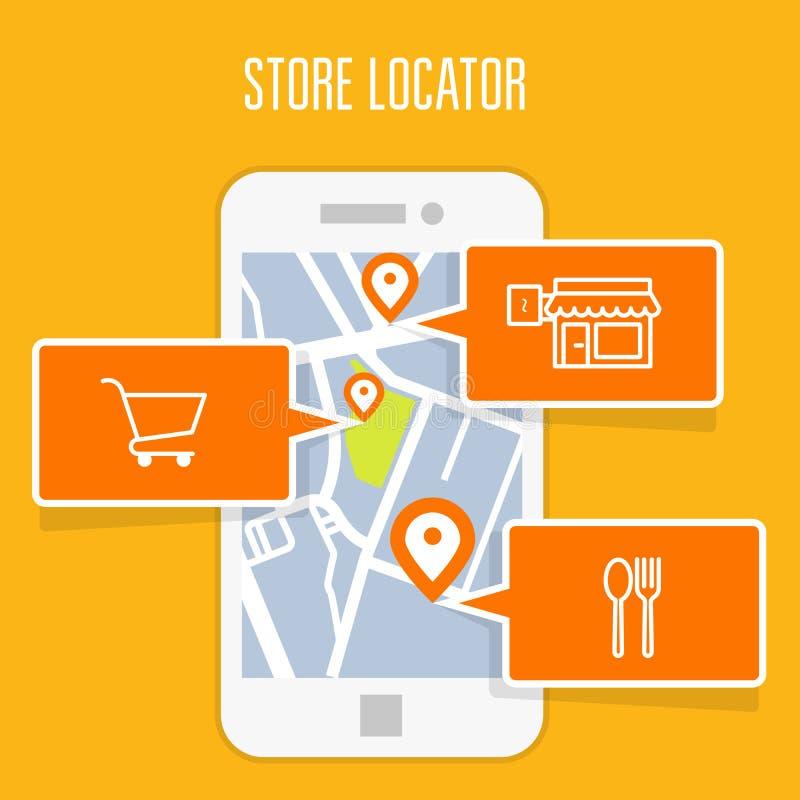 Sklepu locator tropiciel app i mobilna nawigacja ilustracji