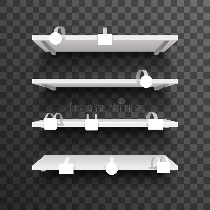 Sklepu meble 3d handlu półki przestrzeni sprzedaży rabata wewnętrznego pustego wobbler pusty klingeryt oznacza realistycznego wek ilustracja wektor