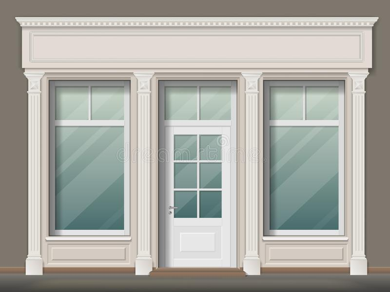 Sklepu przód z kolumnami ilustracja wektor